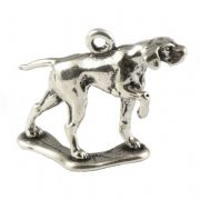 English Pointer Dog 3D Sterling Silver Charm